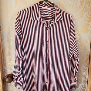 Zara Striped Med Boyfriend Dress/Shirt Red White